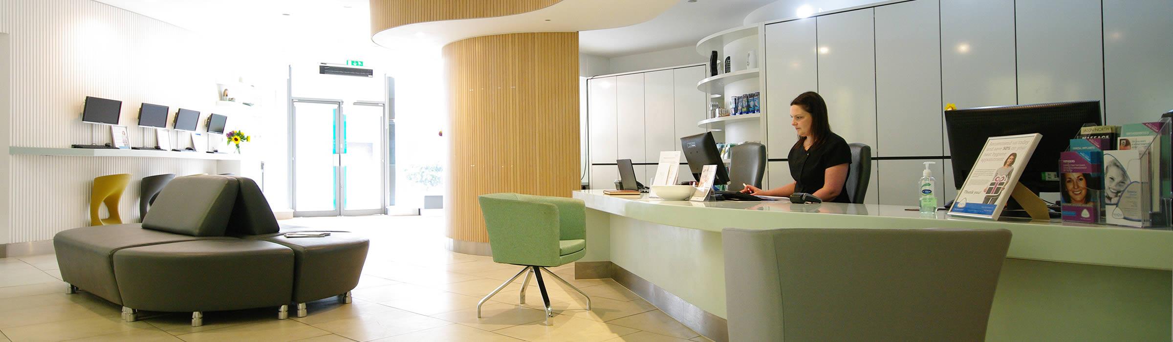 Reception area of Watford dentist Senova Dental Studios in Watford, Hertfordshire